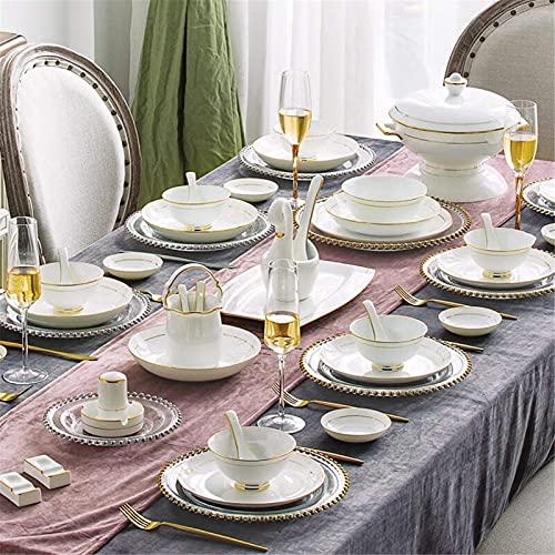JXH Juegos de platos de cena, vajilla de cerámica con 60 piezas, tazón/olla/plato/cuchara/juegos de cena de hueso China, esquema en juego de combinación de porcelana dorado, Euro Ceramica