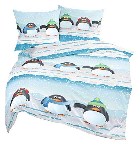 Bierbaum Biber Winter Bettwäsche 2 TLG. 135x200cm 3 Pinguine Freunde Schneeflocken