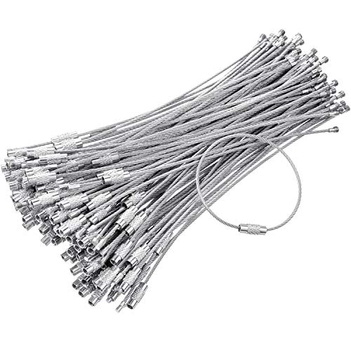 130 Pack Stainless Steel Wire Keychain Cable Stainless Steel Key Ring Loop for Heavy Duty Luggage Tags