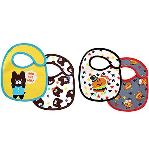 BAIBY 4 Piezas Baberos de Alimentación Impermeable Delantal de Bebé Pequeños Baberos de Alimentación de Algodón Suave Cómodo Toalla de Saliva Lavables de Material Seguro para Bebés