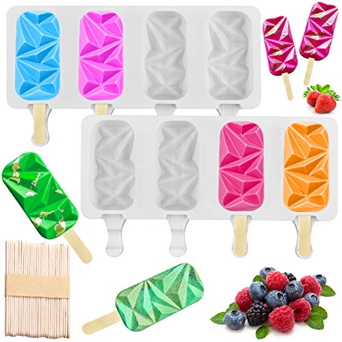 2 Pack Silicon Popsicle Molds for Cake Pop, Small 4 Cavities BPA Free Diamond Oval Ice Pop Maker Molds with 50 Wooden Sticks for DIY Ice Cream, Cake Pop, Cakesicles