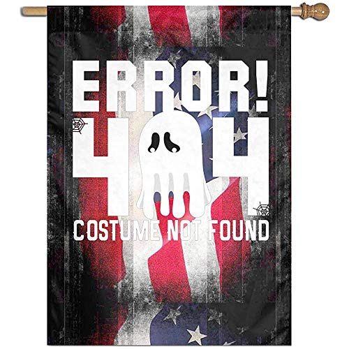 KDU Fashion Outdoor Seasonal vlag, fout 404 - Kostuum niet gevonden - Halloween decoratieve tuinvlaggen voor thuis Welcome Decor 32x45,7 cm
