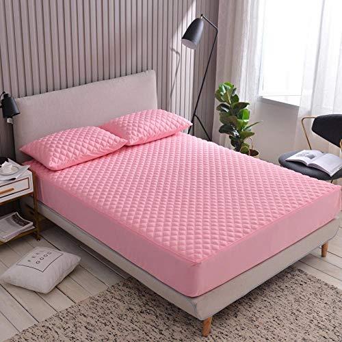 ChileYile Protector de colchón Cepillado de Color Liso Engrosamiento Antideslizante más Dormitorio de algodón-El 120x200 * 20cmRosa Claro