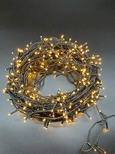 Lichterkette 500er LED Lichtvorhang Innen und Außen 50M, 8 Modi,Timer Funktion, Dekolampe auf dunkelgrün Kabel für Weihnachten Party Garten Festival (Gelb, IP44)