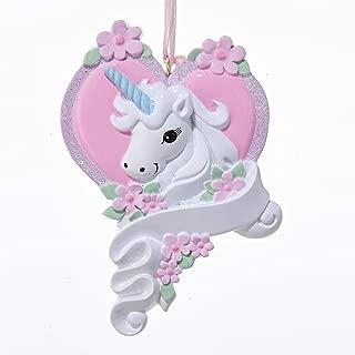 Kurt Adler White Unicorn Horse with Pink Heart Christmas Ornament Holiday Decoration W8285