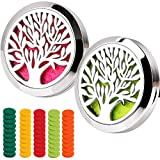 Car Aromatherapy Essential Oil Diffuser Car Air Freshener Stainless Steel Magnetic Closure Locket 2PCS Tree of Life with 50 Refill Pads