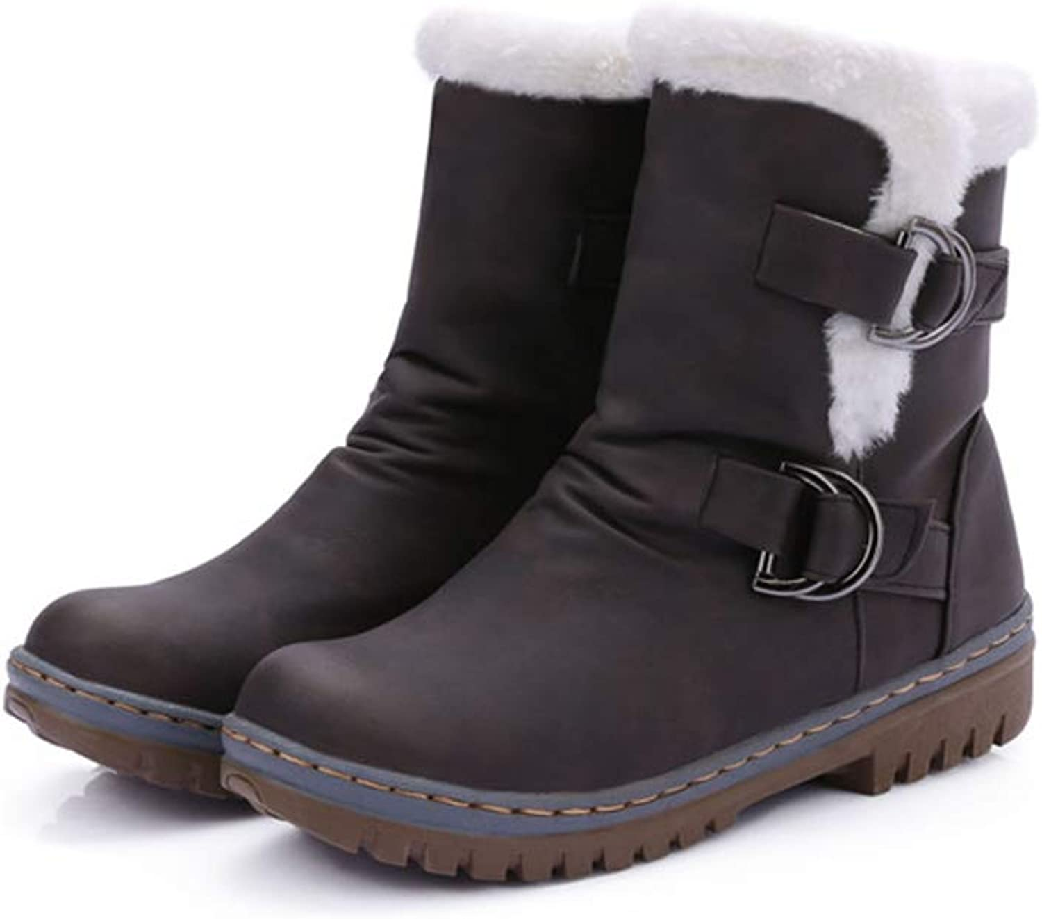 Winter Snow Boots for Women Classic Buckle Riding shoes Wear-Resist Rubber Sole Ankle Booties, Plus Size