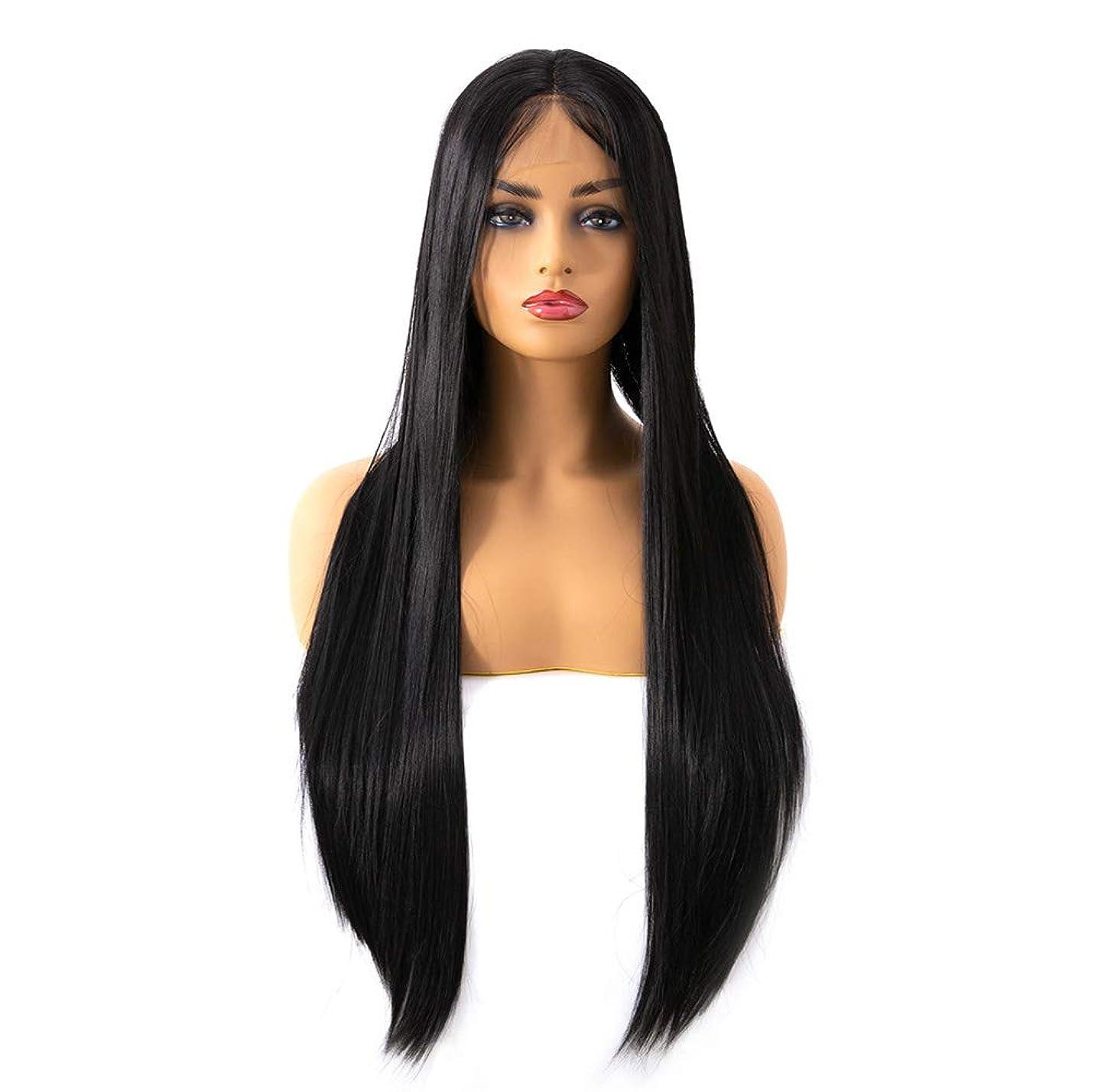 相談姉妹工業用女性のレースフロントの人間の毛髪のかつら150%密度合成ロングストレート耐熱かつら