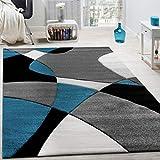 Paco Home Designer Teppich Modern Geometrische Muster Konturenschnitt In Türkis Grau Schwarz, Grösse:120x170 cm