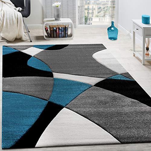 Paco Home Créateur Tapis Moderne Motifs Géométriques Découpe des Contours en Turquoise Gris Noir, Dimension:120x170 cm