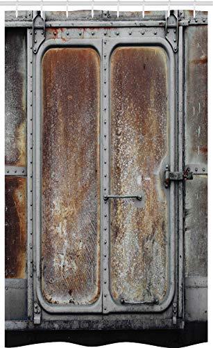 ABAKUHAUS industrieel Douchegordijn, Vermogen VoortbewegingsTrein, voor Douchecabine Stoffen Badkamer Decoratie Set met Ophangringen, 120 x 180 cm, Grijs bruin