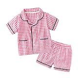 Toddler Plaid Pajamas Set Short Sleeve Sleepwear Girl PJ's Button Down Pajama Top and Bottom Viscose Pink 2T