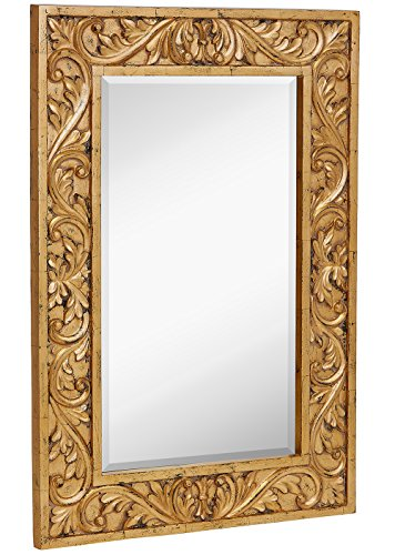 Hamilton Hills Large Gold Antique Inlay Baroque Styled Framed Mirror | Aged...
