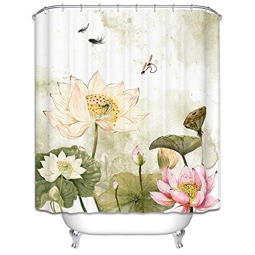 GAOJIAN Peintures de paysage chinoises Rideau de douche personnalisé créatif à l'eau et à l'humidité salle de bain rideau rideau de douche , white width 200 high 180