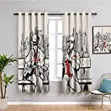 SONGDAYONE - Cortina de ventana con diseño de saxofón antiguo y plantilla de solo vibes Art Print protección de privacidad dorado y negro blanco, poliéster, Color08, W55 x L63 Inch