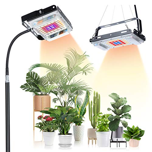 Grow Light with Stand,SUNICO Full Spectrum 150W,7000 lx LED lamp for Indoor Plants Growth, Standing Floor Grow Lamp with On/Off Switch,Adjustable Tripod Stand 15-47 inches