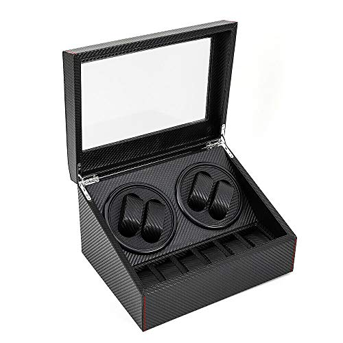 Automatic Rotation Watch Winder 4+6 Carbon Fiber Watch Display Box Case Storage Organizer 2 Motor Black (US Stock)