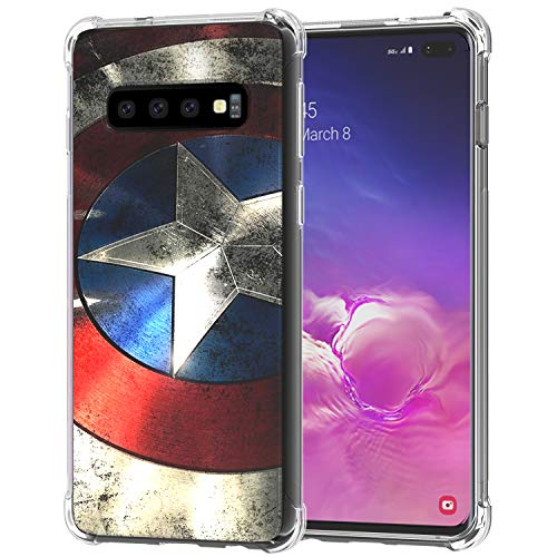 Galaxy S10+ Plus Case, Ailiber S10Plus Captain America's Shield Super Hero Red Retro Thin Light Design Shock Absorption Soft TPU Bumper Protective Cover for Samsung Galaxy S10+ 6.4 in- Captain Shield