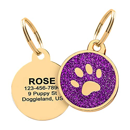 Custom Gold Paw Pet Tag ID, Personalized Stainless Steel Cute Sparkly Shiny Bling Paw Collar Tag Lost Boy & Girl Dogs Puppies Cats with Ring Laser Engraved SOS Customizable with Name, Phone, Address