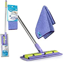 Pure-Sky Magic Deep Clean Floor Mop - JUST ADD Water No Detergents Needed - Ultra Microfiber Damp Mop Cleaner - Includes Pole Light Weight, Strong Durable Pole + Includes Attachable Towel