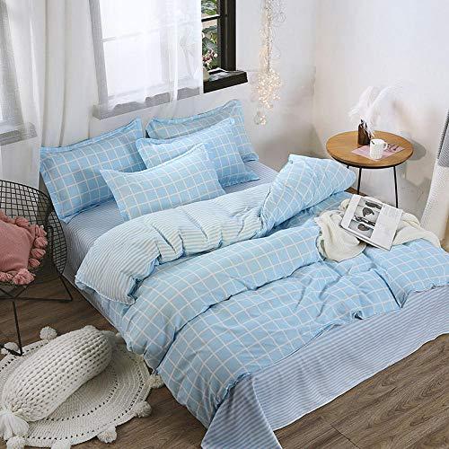 NNDHYS Color sólido Lacttice Stripe Printed Kids Bed Cover Set Funda nórdica Sábana de Cama para niños Adultos Funda de Almohada Edredón Ropa de Cama Twin 4pcs 150x200cm