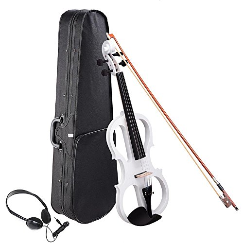 AW 4/4 Electric Violin Full Size Wood Silent Fiddle Stringed Instrument Bow Headphone