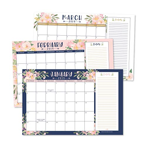 """Navy Floral 2019-2020 Large Monthly Desk or Wall Calendar Planner, Big Giant Planning Blotter Pad, 18 Month Academic Desktop, Hanging 2-Year Date Notepad Teacher, Family Home or Business Office 11x17"""""""