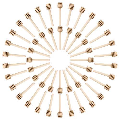 50pcs Wooden Honey Sticks, BetterJonny 8cm Individually Wrapped Wooden Honey Spoon Small Wood Honey Dipper Sticks drizzler for Honey Jar Pot Dispense Drizzle Honey Wedding Party Favors