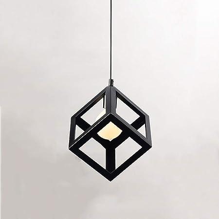 Plafonnier Cube Industriel, Suspension Luminaireen Métal, Lustre Géométrique Vintage, Lustre ChambreSuspendue Carrée Design Cube Couleur Noire, 220V, Ampoule E27 non Inclus