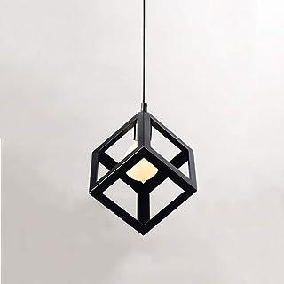 Plafonnier Cube Industriel, Suspension Luminaireen Métal, Lustre Géométrique Vintage, Lustre ChambreSuspendue Carrée Des...