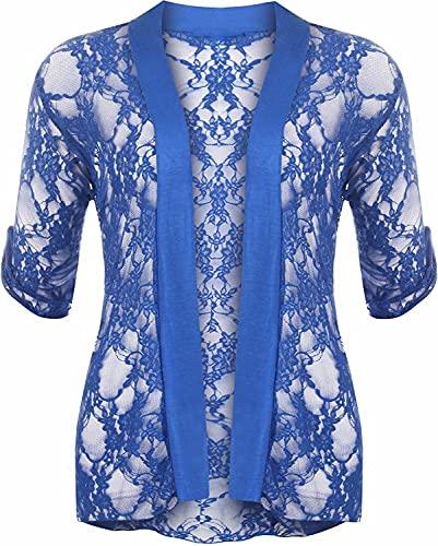 Cárdigan abierto de encaje para mujer, manga 3/4, bolero de encaje floral, tallas grandes US 10-24 - azul - 54-56 Más