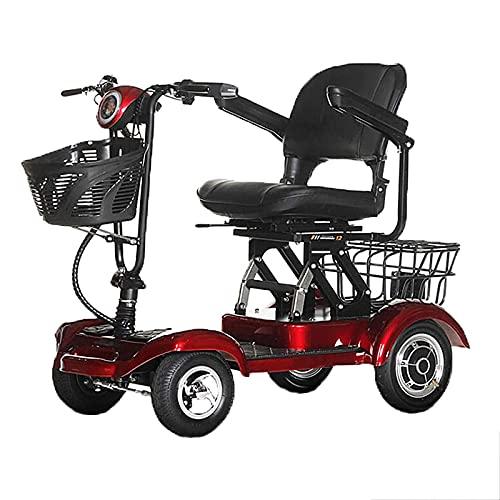 Scooter de Movilidad de 4 Ruedas, Scooter de Movilidad eléctrico para Personas Mayores y Adultos, Scooter de Movilidad Ligero Plegable, Silla de Ruedas de Viaje compacta portátil, Rojo, 35 km