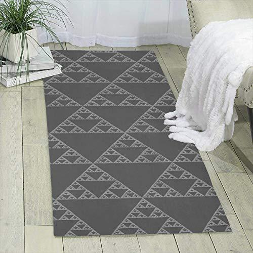 Qing_II Areal-Teppichläufer, 60 x 180 cm, Sierpinski-Dreieck, Hellgrau, modern, für Schlafzimmer, Boden, Sofa, Wohnzimmer