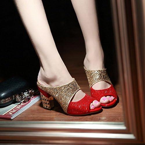 SCLOTHS été Tongs Tongs Femme Chaussures Diamant artificiel talon haut avec épais  coloris étonnants