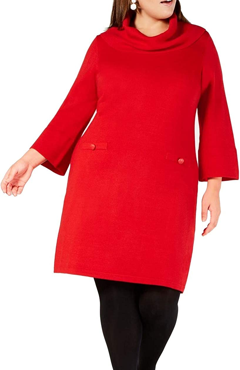 Jessica Howard Women's Plus Size Cowl-Neck Sweater Dress