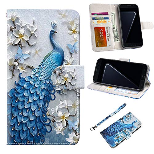 S7 Edge Case, UrSpeedtekLive Galaxy S7 Edge Wallet Case, Premium PU Leather Wristlet Flip Case Cover with Card Slots & Stand for Samsung Galaxy S7 Edge, Peacock