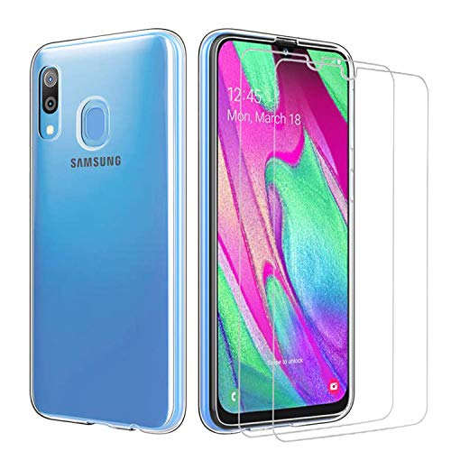 iLieber Samsung Galaxy A40 Hülle + Panzerglas,[1 Hülle + 2 Panzerglas] Schutzhülle Handyhülle Kratzfeste Soft TPU Bumper Case Cover,[2 Pack] 9H Panzerglas Hartglas Glas für Samsung Galaxy A40