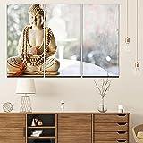 QUANQUAN 3 Piezas De Pared Fotos Cuadros En Lienzo Estatua de Buda Zen Abstracta Lonas HD Imprimir Modern Enmarcado De Madera Estirada Artwork Decoración De Pared Living Room