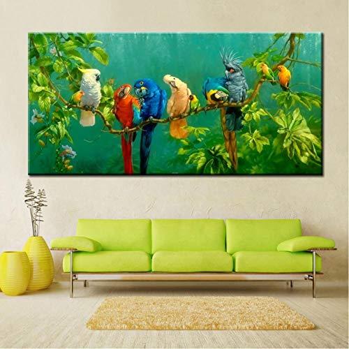 TBWPTS Canvas Schilderij Groot formaat digitaal bedrukt canvas schilderij kleurrijke papegaaien print poster voor woonkamer kunst aan de muur foto home decor cadeau