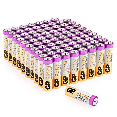 GP Extra Alkaline Batterien AA Mignon 80 Stück Vorrats-Pack, ideal für die Stromversorgung von Geräten des täglichen Bedarfs (Briefkasten-geeignete Verpackung)