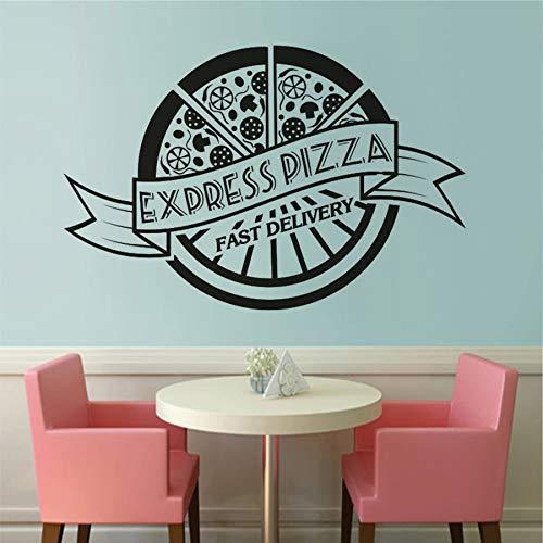 Pizzería Decoración Interior Express Pizza Wall Sticker Pizzeria Restaurante Art Calcomanías Extraíbles A3 64x42cm