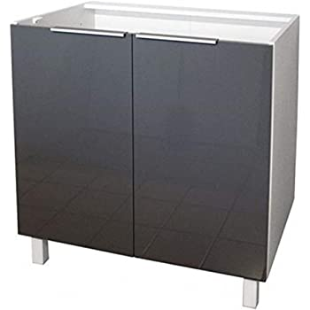 Berlenus - Kitchen Base Cabinet with 2 Doors, High-Gloss Grey, 80 x 52