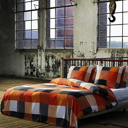 2 TLG. etérea Renforcé Bettwäsche - Rian Karo Kariert - weiche atmungsaktive 100% Baumwolle, 135x200 + 80x80 cm, Modernes Design Schwarz Orange