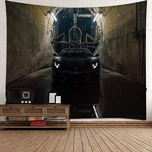 Tapiz,Superdeportivo negro Tapiz vintage para colgar en la pared, tapiz, tapiz de pared para dormitorio, sala de estar 79'x59'