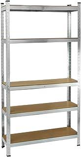 PrimeMatik - Estanteria metálica galvanizada para almacenar de 5 baldas de Madera 90x40x180 cm