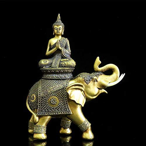 Thai Buddha Decor,Buddha Statue Polyresin,Zen Home Decor Peace Sculpture Elephant Buddha A 12.2inch