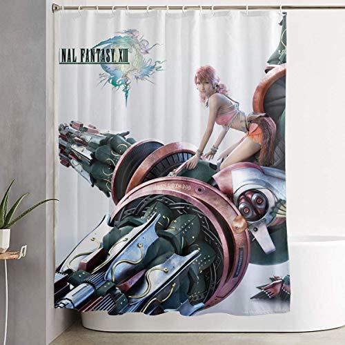 ngquzhe Final Fantasy 13-Vanille Anime Duschvorhang mit Haken 60 x 72 Zoll wasserdichter Duschvorhang aus Polyestergewebe für Badezimmerduschen & Badewannen