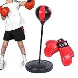 Cusco Pera de Velocidad para Niños Juego de Boxeo con Guantes y Soporte Ajustable Altura 70-105 cm Negro y Rojo