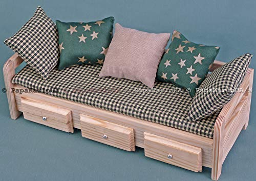 Dollhouse Wooden Double Sofa Miniature Living Room Furniture Toys 1//6 Scale