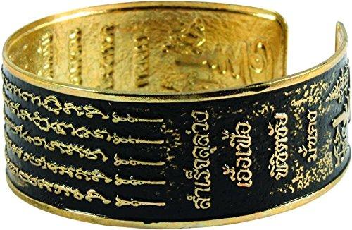 The Talisman Bracelet Brass Thai Buddha Amulet Gold Metal Cuff